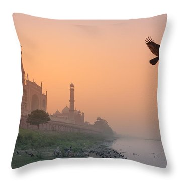 Misty Taj Mahal Throw Pillow by Marji Lang