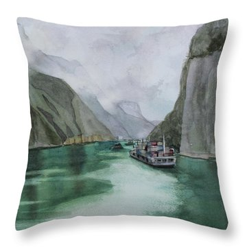 Throw Pillow featuring the painting Misty Voyage by Kris Parins