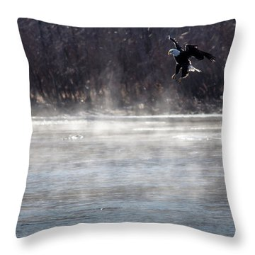Throw Pillow featuring the photograph Misty Water Eagle by Randy Scherkenbach