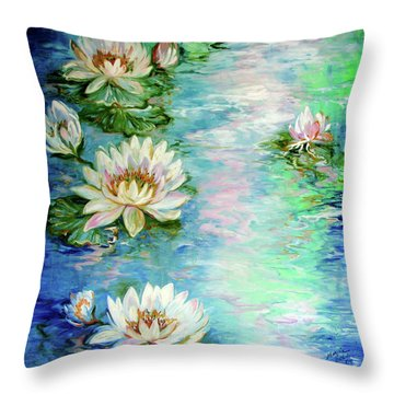 Misty Waters Waterlily Pond Throw Pillow