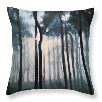 Misty Woods Throw Pillow