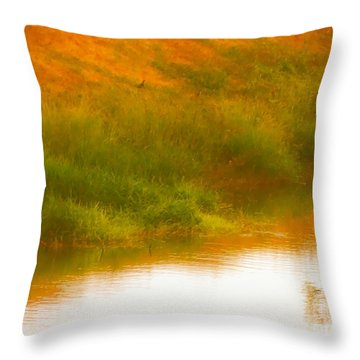 Misty Yellow Hue -lone Jacana Throw Pillow