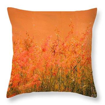 Misty Yellow Hue- Pink Blooms Throw Pillow