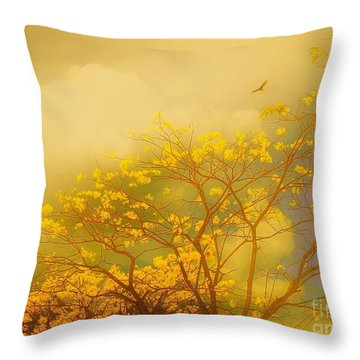 Misty Yellow Hue -poui Throw Pillow