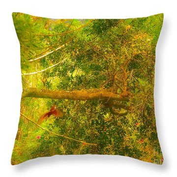 Misty Yellow Hue- Ringed Kingfisher In Flight Throw Pillow