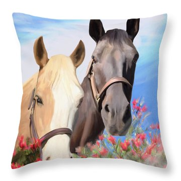 Miwok Horses Throw Pillow by Julianne  Ososke