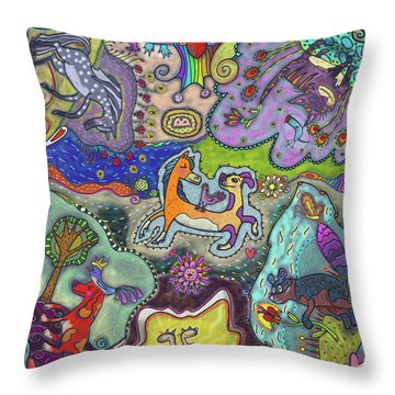 Throw Pillow featuring the painting Mixed Animal Faves by Marti McGinnis