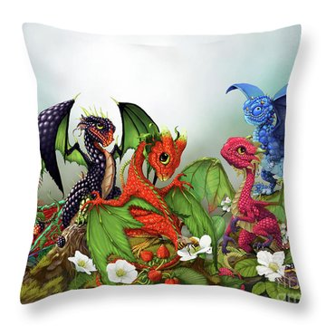 Mixed Berries Dragons Throw Pillow