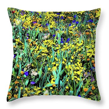 Mixed Flower Garden 515 Throw Pillow