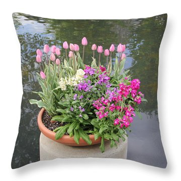 Mixed Flower Planter Throw Pillow
