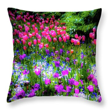 Mixed Flowers And Tulips Throw Pillow