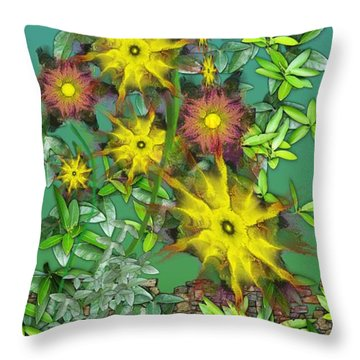 Mixed Flowers Throw Pillow