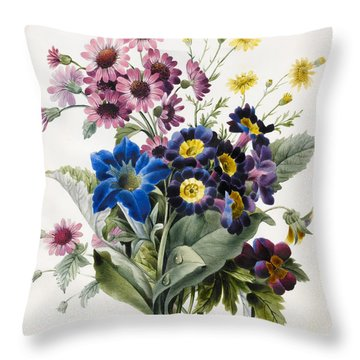 Mixed Flowers Throw Pillow