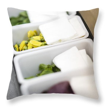 Mixed Fresh Herbs In Kitchen Interior Throw Pillow