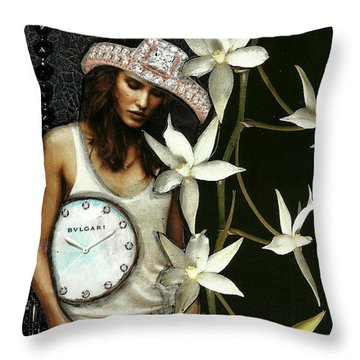 Throw Pillow featuring the mixed media Mixed Media Collage Lost In Thought by Lisa Noneman
