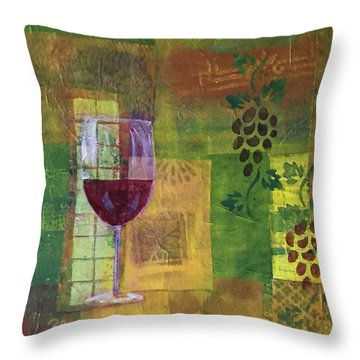 Mixed Media Painting Wine Throw Pillow by Patricia Cleasby