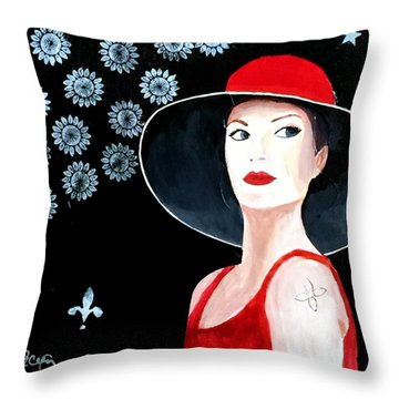 Mixed Media Painting Woman Red Hat Throw Pillow by Patricia Cleasby