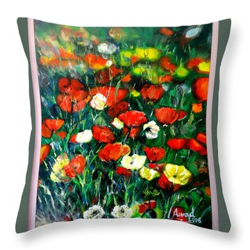 Throw Pillow featuring the painting Mixed Puppies  by Laila Awad Jamaleldin