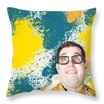 Mixed Up Graphic Designer Struggling With Client Throw Pillow