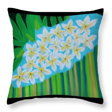 Throw Pillow featuring the painting Mixed Up Plumaria by Deborah Boyd
