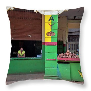 Throw Pillow featuring the photograph Mjay Fruit Stand Havana Cuba by Charles Harden