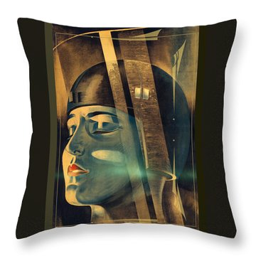 Metropolis Maria Transformation Throw Pillow