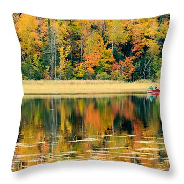 Mn Fall Fishing Throw Pillow