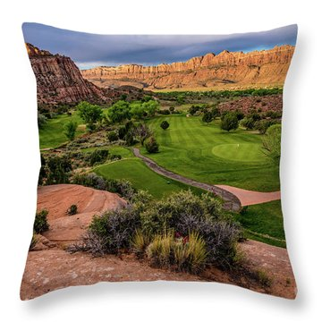 Moab Desert Canyon Golf Course At Sunrise Throw Pillow by Gary Whitton