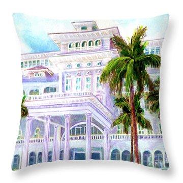Moana Surfrider Hotel On Waikiki Beach #206 Throw Pillow by Donald k Hall