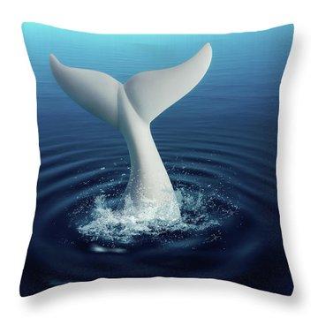 Moby Dick Throw Pillow by Tom Mc Nemar
