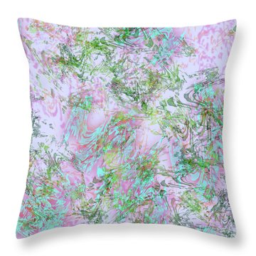Mock Floral Purple Teal Throw Pillow