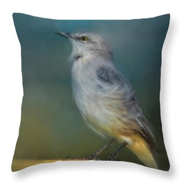Mockingbird On A Windy Day Throw Pillow