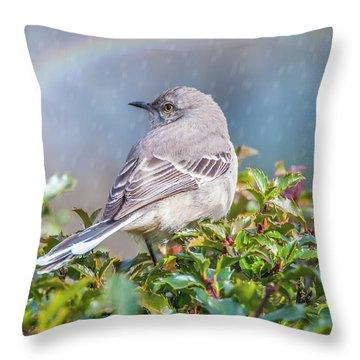 Mockingbird Rainbow Throw Pillow
