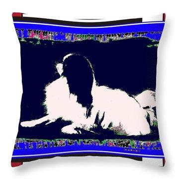 Mod Dog Throw Pillow by Kathleen Sepulveda