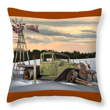 Throw Pillow featuring the digital art Model A Flatbed by Stuart Swartz