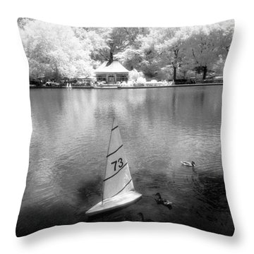 Model Boat Lake Central Park Throw Pillow
