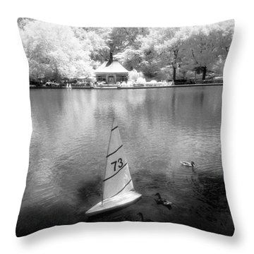Model Boat Lake Central Park Throw Pillow by Dave Beckerman