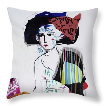 Model With Fashion Hat And Chawl Throw Pillow by Amara Dacer