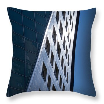 Throw Pillow featuring the photograph Blue Modern Apartment Building by John Williams