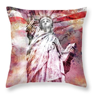 Modern-art Statue Of Liberty - Red Throw Pillow by Melanie Viola