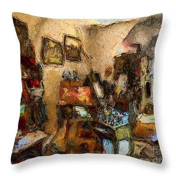 Modern Art Studio Throw Pillow
