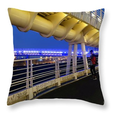 Throw Pillow featuring the photograph Modern Bicycle Overpass By Night by Yali Shi