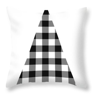 Modern Black And White Tree 2- Art By Linda Woods Throw Pillow