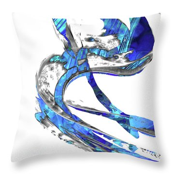 Modern Blue And White Art - Flowing 4 - Sharon Cummings Throw Pillow