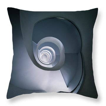 Throw Pillow featuring the photograph Modern Blue Spiral Staircase by Jaroslaw Blaminsky