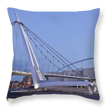 Modern Bridge Zaragoza Delicias Throw Pillow by Marek Stepan