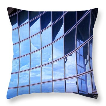 Throw Pillow featuring the photograph Modern Building Facade With Reflection by Yali Shi