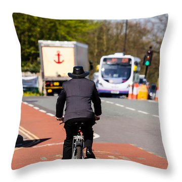 Modern Cowboy On Bike Throw Pillow