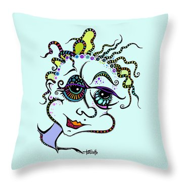 Modern Day Medusa Throw Pillow by Tanielle Childers