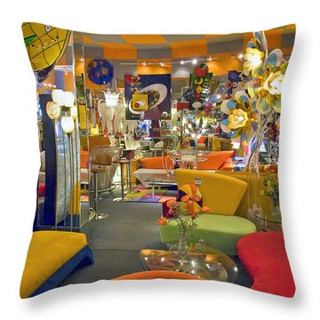 Throw Pillow featuring the photograph Modern Deco Furniture Store Interior by David Zanzinger